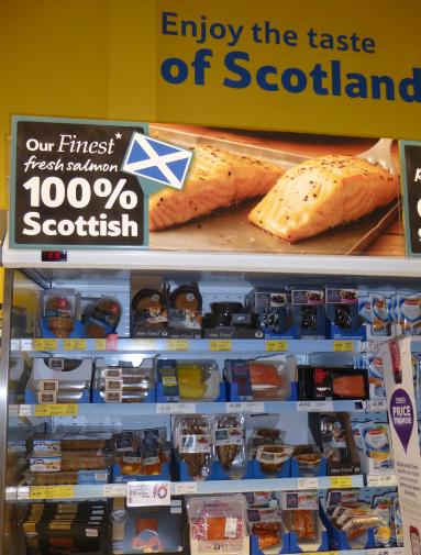 Low res photos #6 Tesco Penicuik 29 March 2014 Scottish display selling 100% Norwegian farmed salmon