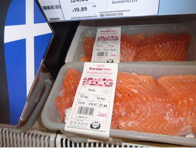Low res photos #17 Tesco Inverness 30 March 2014 Scottish flag selling farmed salmon from Norway