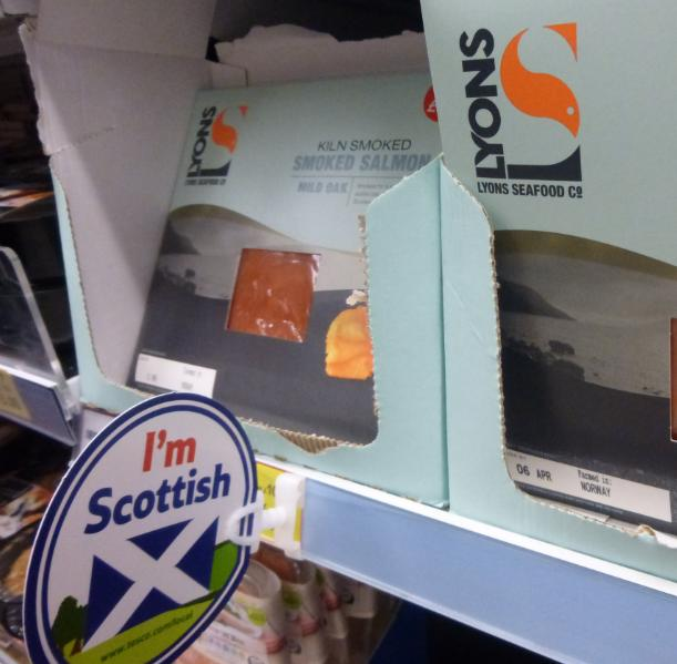 Low res photos #1 Tesco Inverness 20 March 2014 I'm Scottish label next to Farmed In Norway salmon product