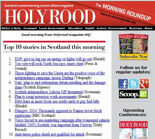 Holyrood morning roundup 7 April 2014