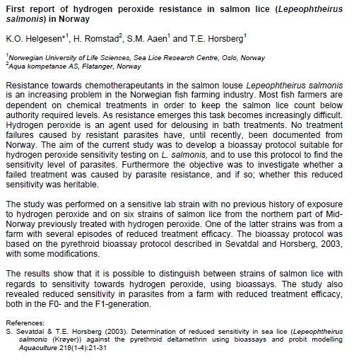 Sea Lice 2014 h20 resistance