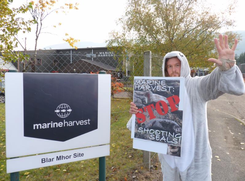 Photo #3 Don at MH processing plant Stop shooting seals sign