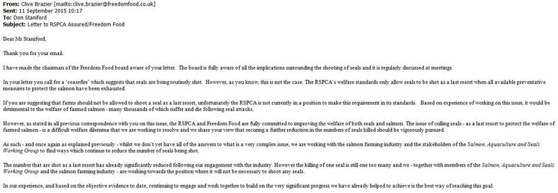 RSPCA Freedom Food email from Clive Brazier Sept 2015 #1