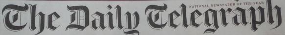 Daily Telegraph 19 Nov 2016 #1 Newspaper version banner
