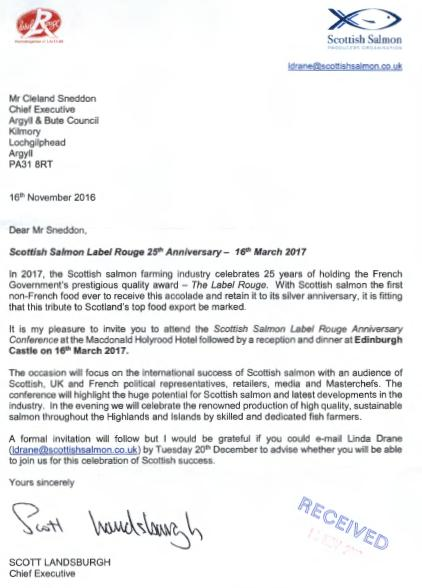 SSPO Label Rouge invite to Argyll & Bute Council for 16 March 2017 event