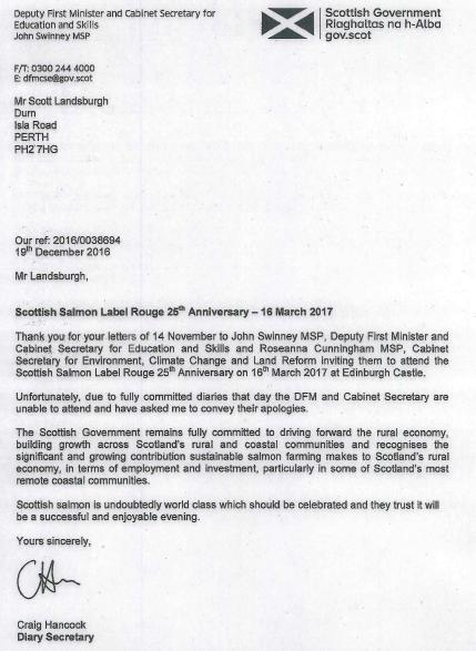 SSPO Label Rouge reply from Deputy First Minister