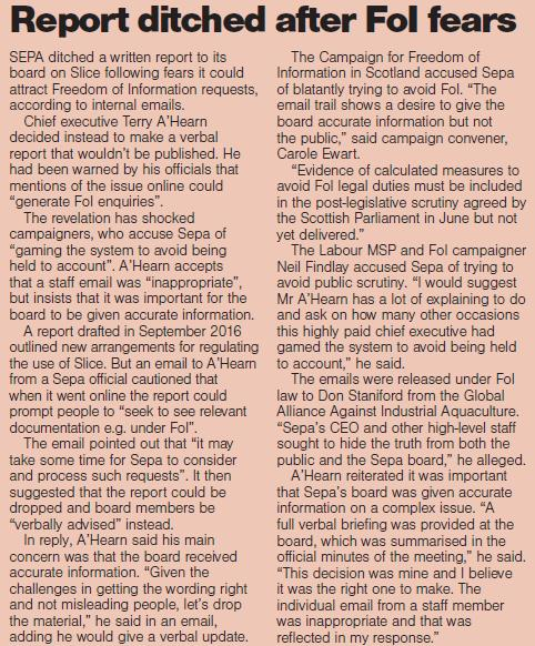Sunday Herald 5 Nov 2017 Report ditched after FOI fears