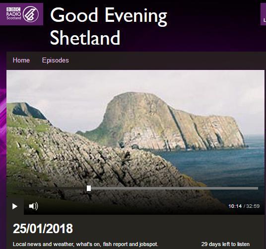 BBC Radio Shetland 25 Jan 2018