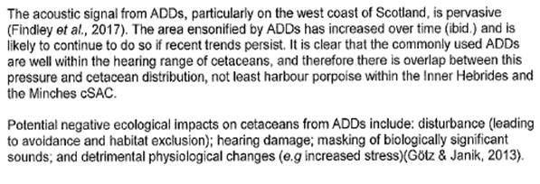 PR ADDs Deafening Impact on Cetaceans 18 April 2018 #1 SNH advice