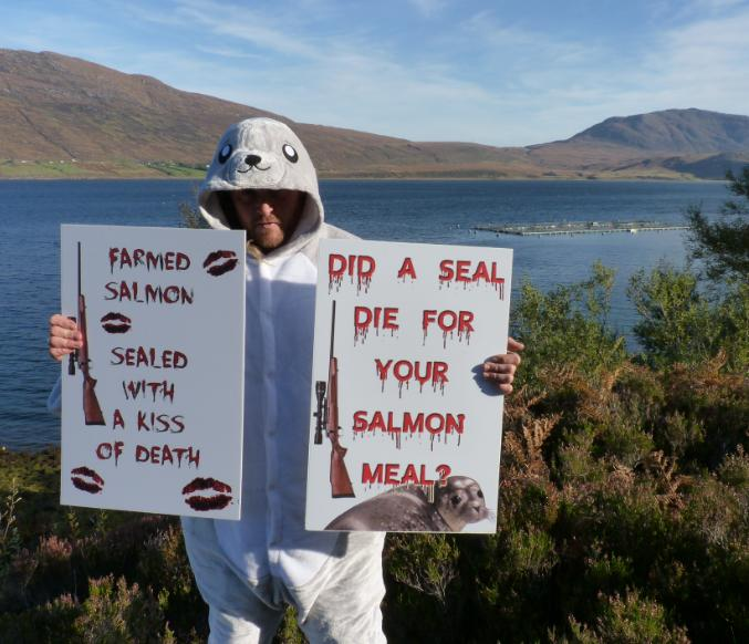 Photo #1 Don with two signs at WRF in Little Loch Broom