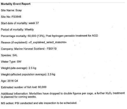 Hydrogen peroxide mort report 60,000 Soay