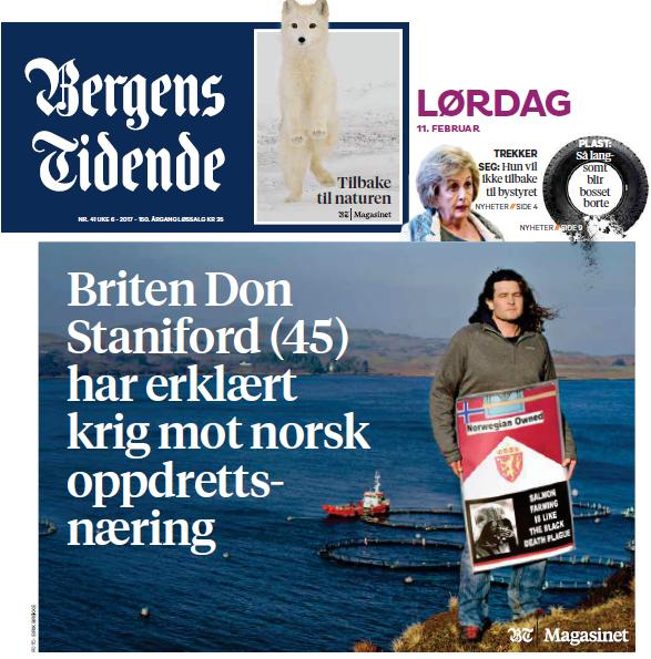Bergens Tidende 12 Feb 2017 front page
