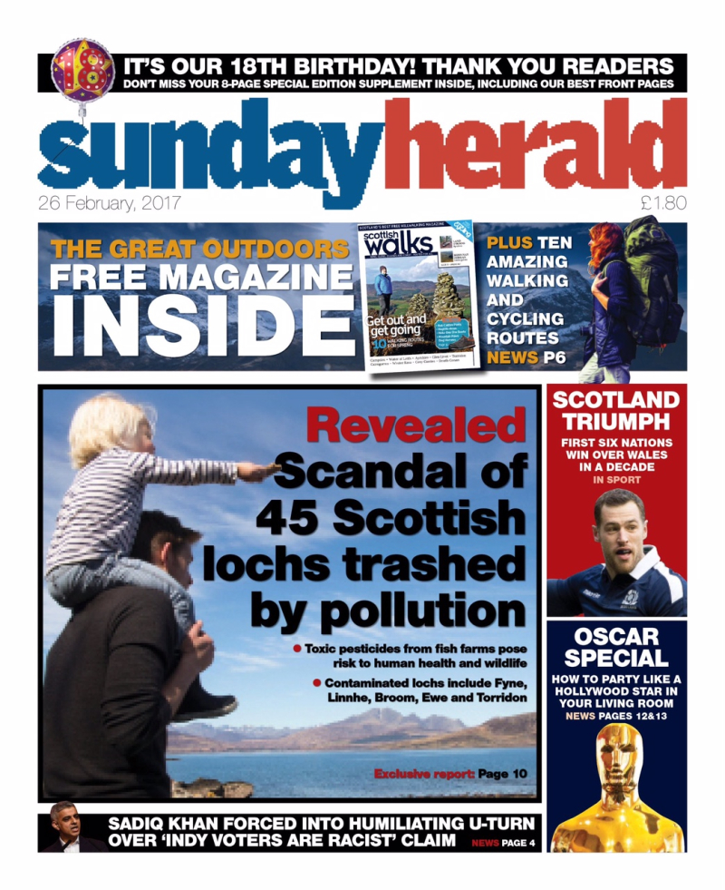 Sunday Herald 26 Feb 2017 Front page higher res