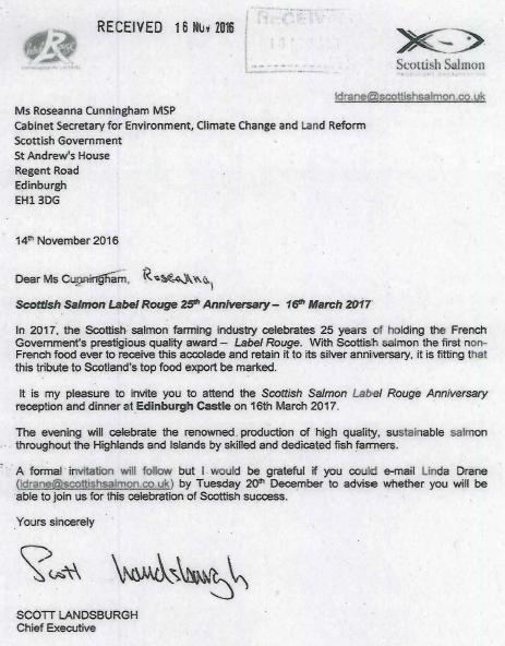 SSPO Label Rouge invite to Roseanna Cunningham