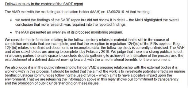 VMD FOI re 2019 study