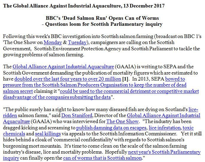 PR BBC Lifts Lid on Dead Salmon Run 13 Dec 2017 #1
