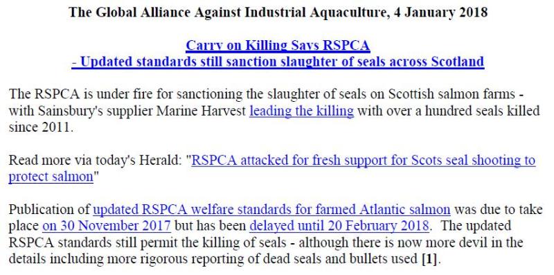 PR RSPCA Sainsburys Carry On Killing Seals 4 Jan 2018 #1