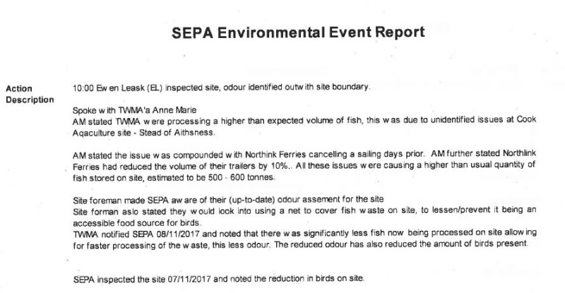Shetland FOI documents SEPA Environmental Event Report #1