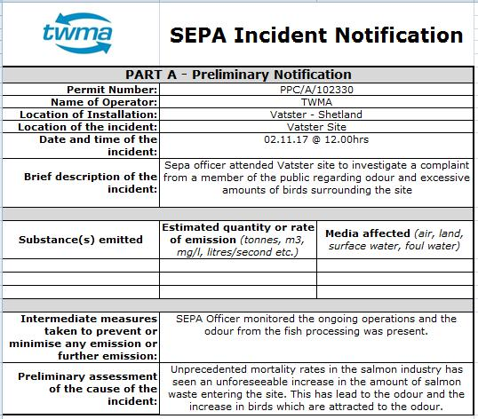 Shetland FOI documents TWMA SEPA Incident Notification Vatser 2 11 2017 #1