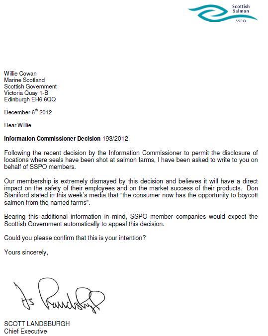 SSPO letter December 2012 market success
