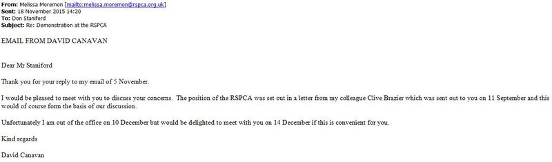 RSPCA email from David Canavan 18 Nov 2015
