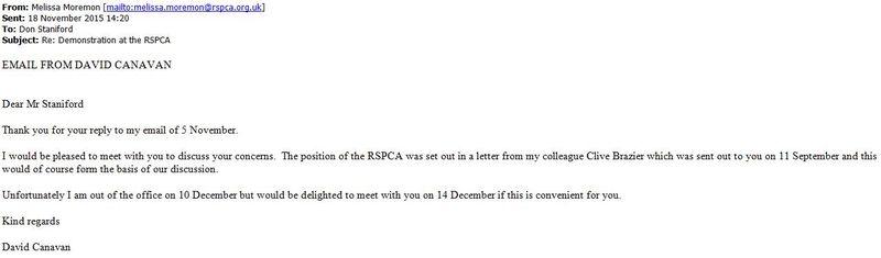 RSPCA email from David Canavan 18 Nov 2015