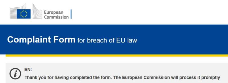 EC Complaint form reply 31 Jan 2018