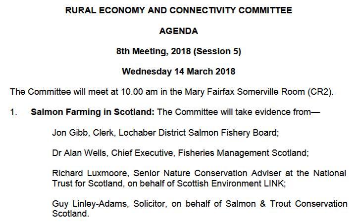 SP recc 14 March evidence agenda
