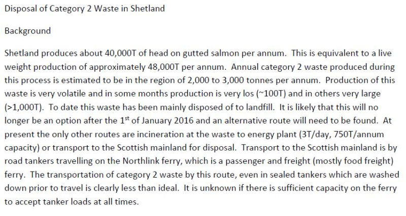 Shetland FOI documents Disposal of Cat 2 Waste in Shetland #1