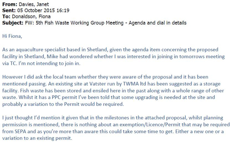 Shetland FOI documents Disposal of Cat 2 Waste in Shetland email