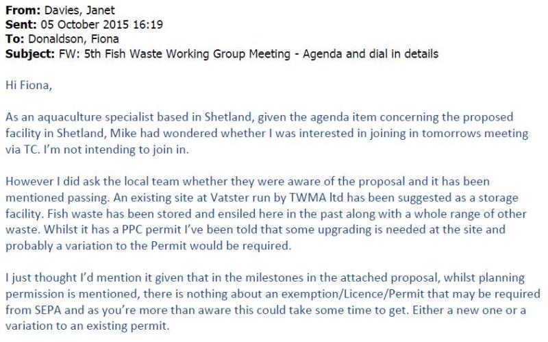 Shetland FOI documents Disposal of Cat 2 Waste in Shetland email