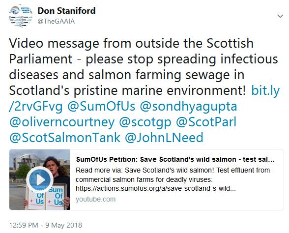 Tweet on video message 9 May 2018