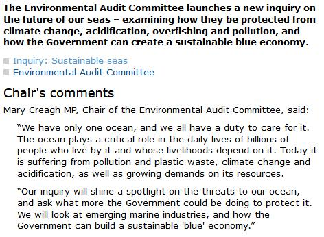 Sustainable Seas Inquiry by the Environmental Audit Committee #2