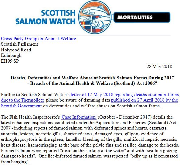 Letter to Cross-Party Animal Welfare Group of the Scottish Parliament 28 May 2018 Follow up