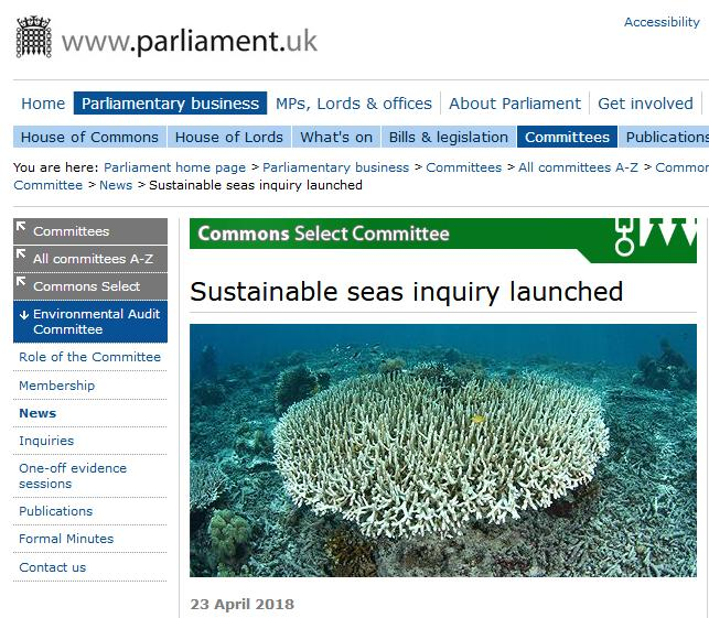Sustainable Seas Inquiry by the Environmental Audit Committee #1