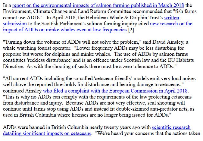 Media Advisory Sounding Off About Scotland's Noisy Salmon Farms 11 June 2018 #2