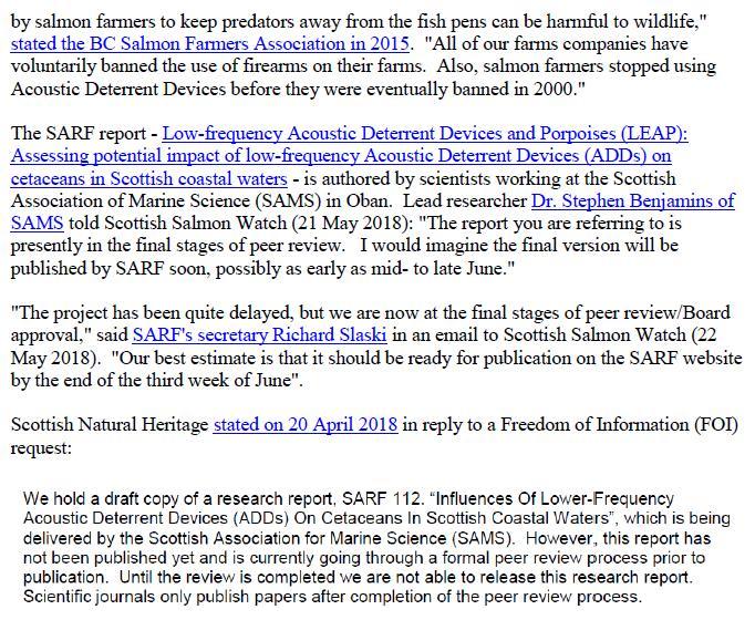 Media Advisory Sounding Off About Scotland's Noisy Salmon Farms 11 June 2018 #3