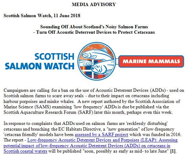 Media Advisory Sounding Off About Scotland's Noisy Salmon Farms 11 June 2018 #1