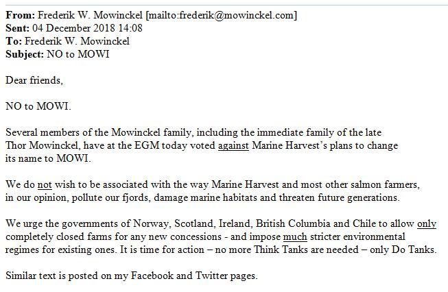 Mowinckel email 4 Dec #1