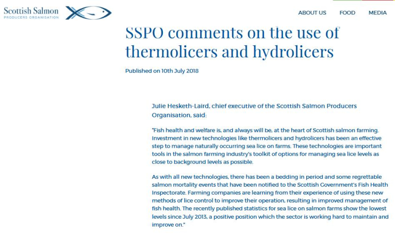 SSPO statement on Thermolicer 10 July 2018