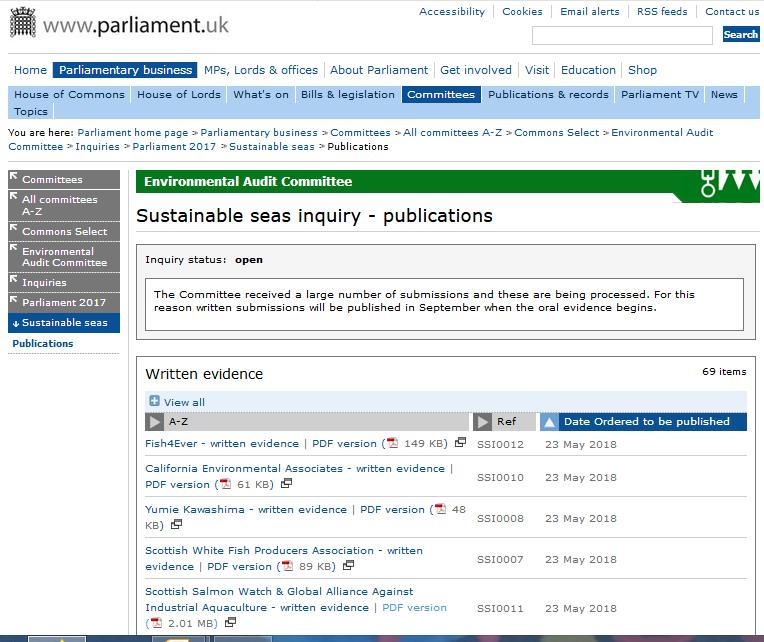 UK Parliament Sustainable Seas written evidence