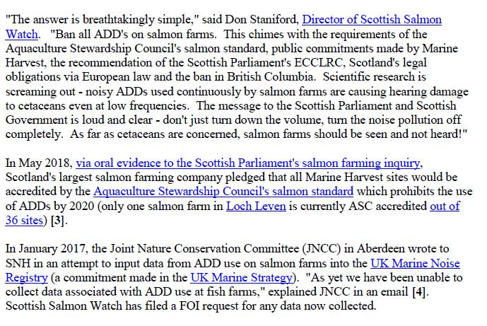 Media Advisory Sounding Off About Scotland's Noisy Salmon Farms 11 June 2018 #8