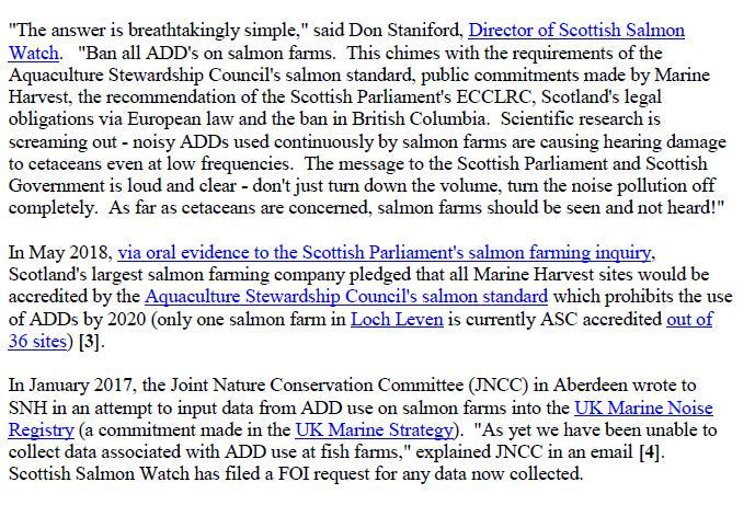 Media Advisory Sounding Off About Scotland's Noisy Salmon Farms 11 June 2018 #8