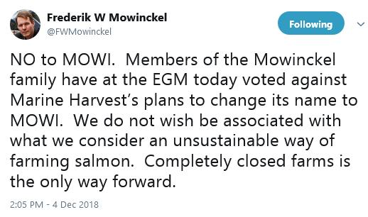 Tweet by Fred Mowinckel 4 Dec