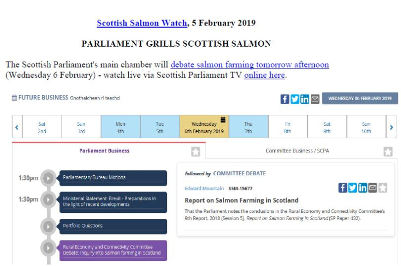 PR Parliament Grills Scottish Salmon 5 Feb 2019 #1