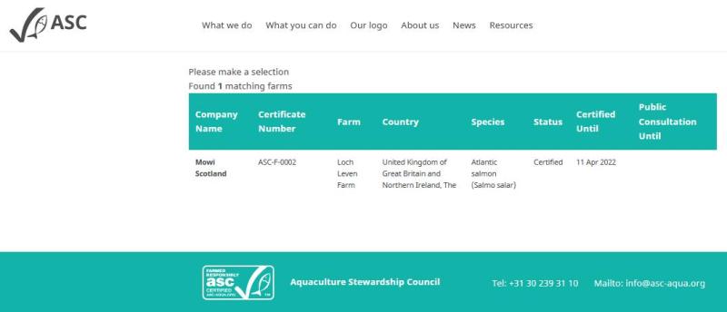 ASC salmon list Scotland