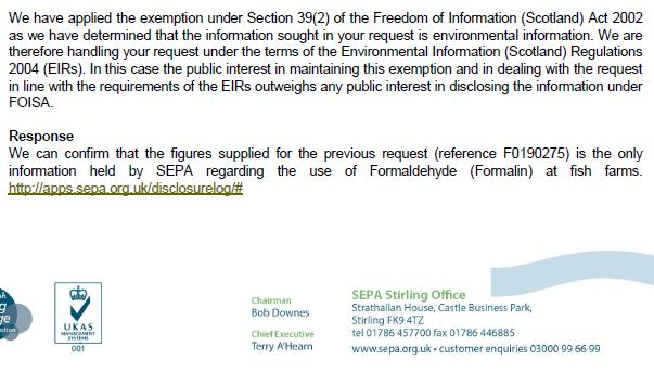 SEPA FOI reply on Formaldehyde 19 July 2019 #2