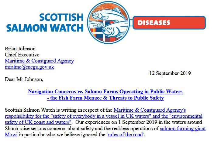 Letter to Maritime & Coastguard Agency 12 September 2019 #1