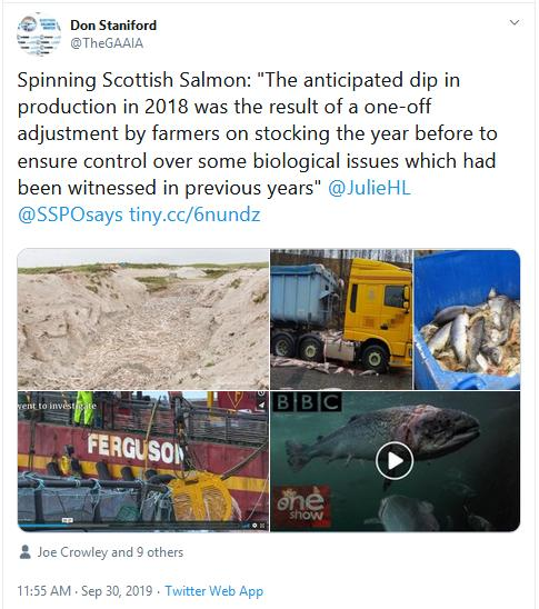 2019 Fish Farm Survey SSPO Julie quote in Salmon Business tweet