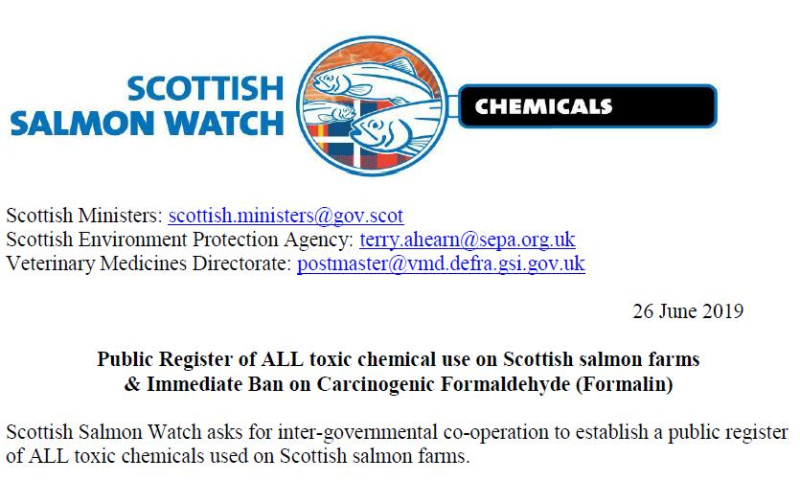 Letter to Scottish Ministers re Formaldehyde 26 June 2019 #1